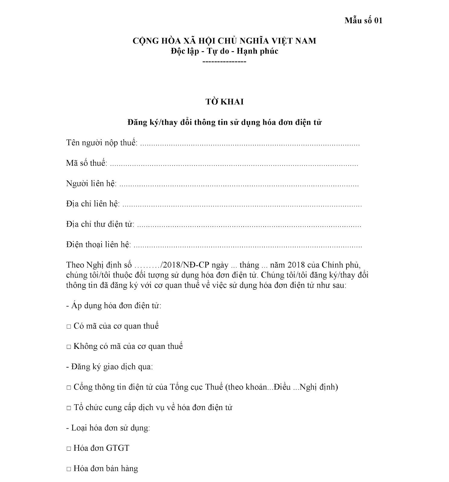 Hướng dẫn đăng ký sử dụng hóa đơn điện tử 4