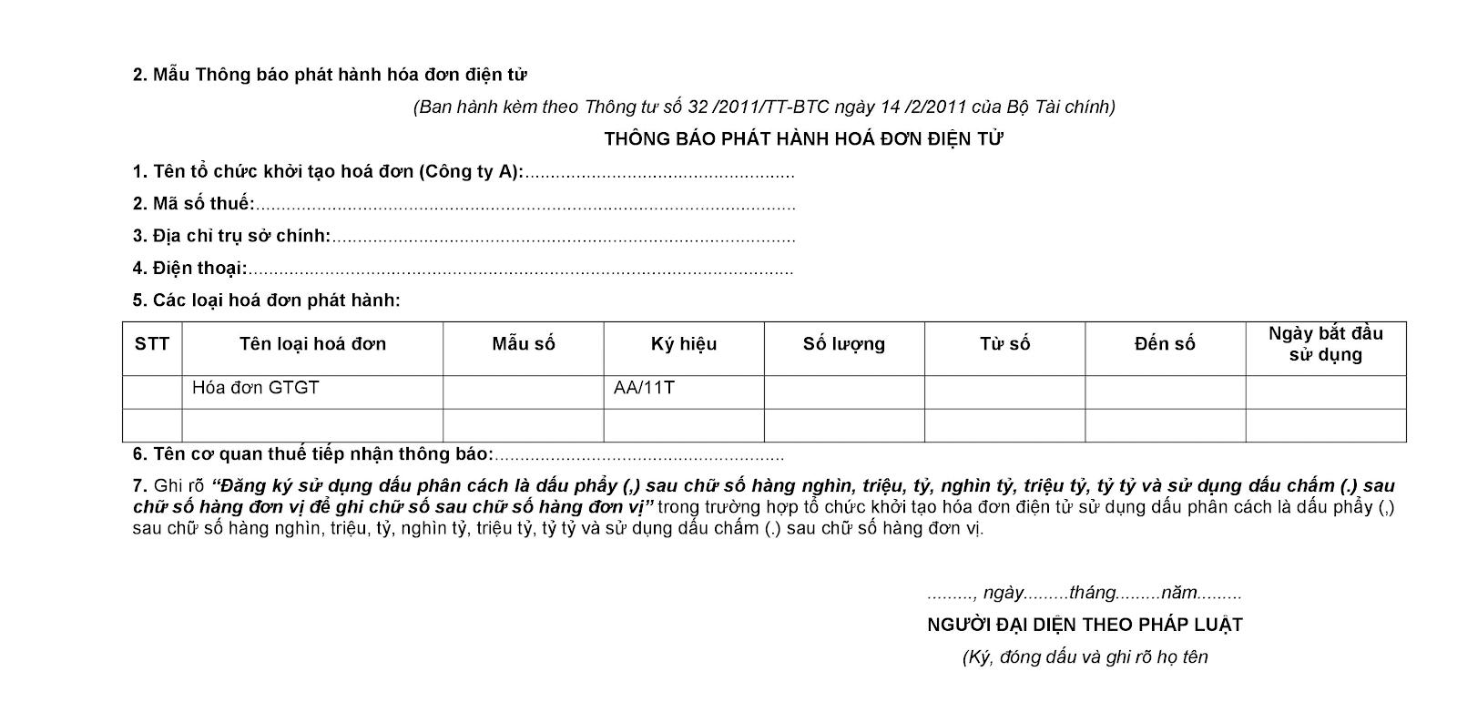 Thông báo phát hành hóa đơn điện tử lần đầu qua mạng 3