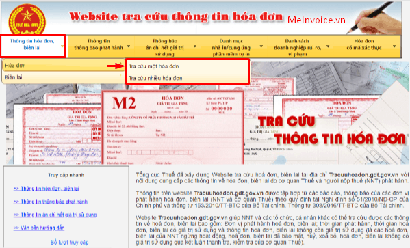 Trang web tra cứu hóa đơn điện tử